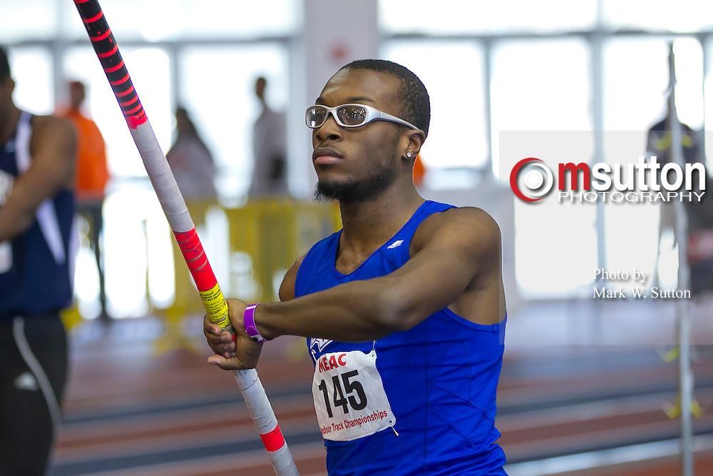 Hampton's Emmanuel Prince during the Men's Poll Vault in the Heptathlon of the 2013 MEAC Men's and Women's Indoor Track and Field Championships at the Prince George's Sports and Learning Complex in Landover, Maryland.  February 15, 2013  (Photo by Mark W. Sutton)