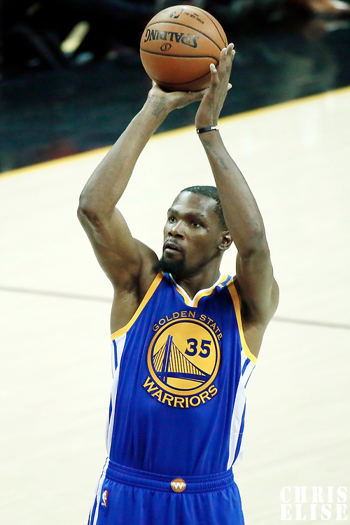 09 June 2017: Golden State Warriors forward Kevin Durant (35) takes a jump shot during the Cleveland Cavaliers 137-11 victory over the Golden State Warriors, in game 4 of the 2017 NBA Finals, at  the Quicken Loans Arena, Cleveland, Ohio, USA.