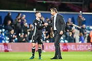 Fulham manager Slavisa Jokanovic, Fulham (16) Oliver Norwood  after the EFL Sky Bet Championship match between Queens Park Rangers and Fulham at the Loftus Road Stadium, London, England on 29 September 2017. Photo by Sebastian Frej.