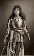 Mary Kingsley as Joan of Arc in the history play 'Henry IV' Part 1 by William Shakespeare. Alice Maud Mary Arcliffe (1852-1936) English actress who used the stage name Mary Kingsley.  Active in the women's suffrage movement in London from about 1906.  Photogravure c1895.