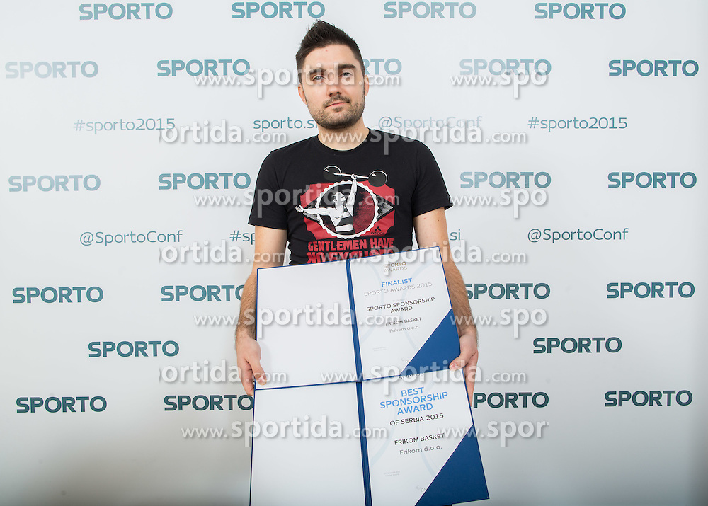 Ivan Zagar, Marketing Frikom Basket with Best  sponsorship Award during Sports marketing and sponsorship conference Sporto 2015, on November 19, 2015 in Hotel Slovenija, Congress centre, Portoroz / Portorose, Slovenia. Photo by Vid Ponikvar / Sportida