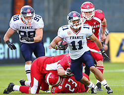 02.06.2014, UPC Arena, Graz, AUT, American Football Europameisterschaft 2014, Gruppe B, Daenemark (DEN) vs Frankreich (FRA), im Bild Etienne  Roudel , (Team France, TE , #98),  Kent Bo  Pedersen, (Team Denmark, DL, #53),  Jimi Smidt  Laursen, (Team Denmark, LB, #23),  Guillaume  Rioux , (Team France, WR , #11) und  Asger Johansen, (Team Denmark, DB, #11) // during the American Football European Championship 2014 group B game between Denmark and France at the UPC Arena, Graz, Austria on 2014/06/02. EXPA Pictures © 2014, PhotoCredit: EXPA/ Thomas Haumer