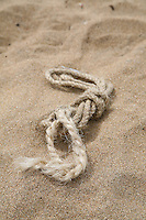 Piece of rope on sandy beach