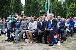 © Licensed to London News Pictures. 22/06/2017. London, UK. Defence Secretary Michael Fallon (R) and Mayor of London Sadiq Khan (second from right) attend the inauguration of the African Caribbean War Memorial in Windrush Square in Brixton, south London, on Windrush Day. The memorial remembers the many African and Caribbean servicemen that fought in the Second World War. Photo credit: Rob Pinney/LNP