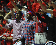"""Ole Miss fans cheer vs. Mississippi State at the C.M. """"Tad"""" Smith Coliseum on Wednesday, February 6, 2013."""