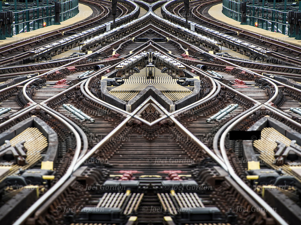 Photographic series of digital computer art from an image of Subway tracks. <br /> <br /> Two or more layers were used to enhance, alter, manipulate the image, creating an abstract surrealistic mirrored symmetry.