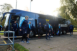 The Worcester Warriors players arrive at Allianz Park - Mandatory byline: Patrick Khachfe/JMP - 07966 386802 - 11/11/2018 - RUGBY UNION - Allianz Park - London, England - Saracens v Worcester Warriors - Premiership Rugby Cup