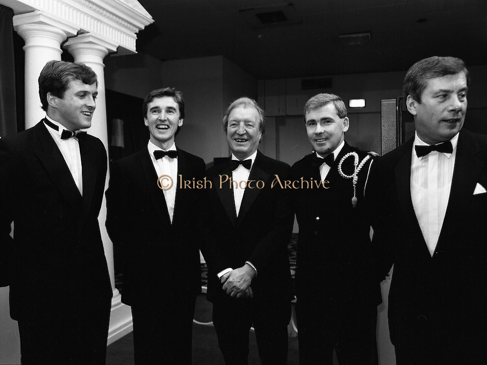 30th Texaco Sportstars of The Year.  (R71)..1988..13.01.1988..01.13.1988..13th January 1988..The Annual Texaco Sportstars awards were held in The Burlington Hotel this evening.The awards were presented by An Taoiseach, Charles Haughey TD..The list of award winners was:.Athletics.           Frank O'Meara..Cycling.             Stephen Roche..Equestrian.        Comdt gerry Mullins..Gaelic football.  Brian Stafford..Golf.                  Eamon Darcy..Horse racing.     Pat Eddery..Hurling.             Joe Cooney..Rugby.               Hugo McNeill..Snooker.            Denis Taylor..Soccer.               Liam Brady..Hall of Fame.      Danny Blanchflower.  (Soccer)...Pictured at the awards ceremony at the Burlington Hotel were, Hugo McNeill, Frank O'Meara, Charles Haughey TD, Comdt Gerry Mullins and Owen Jenkins, Managing Director, Texaco Irl.