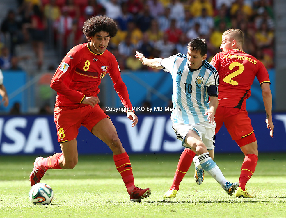 Fifa Soccer World Cup - Brazil 2014 - <br /> ARGENTINA (ARG) Vs. BELGIUM (BEL) - Quarter-finals - Estadio Nacional Brasilia -- Brazil (BRA) - 05 July 2014 <br /> Here Argentine player Lionel Messi () and Belgian player  Marouane FELLAINI (L)<br /> &copy; PikoPress