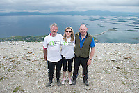 22/06/2014 John Lawlor,Tullamore,  Ciara Tallon, SHA  and Andrew Russell Dublin who climbed the  765 metre Croagh Patrick in Mayo as part of the 30th Anniversary Celebrations of  Self Help Africa and to support the work of Self Help Africa in 10 countries in Africa. Photo: Andrew Downes