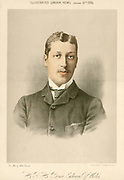 Albert Victor, Duke of Clarence (1864-1892) Eldest son of Edward, Prince of Wales (Edward VII). English prince, grandson of Queen Victoria. Tinted lithograph published to mark his 21st birthday.