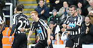 Steven Taylor (r) of Newcastle United celebrates the opening goal with Jack Colback (2nd r) during the Barclays Premier League match at St. James's Park, Newcastle<br /> Picture by Simon Moore/Focus Images Ltd 07807 671782<br /> 01/01/2015