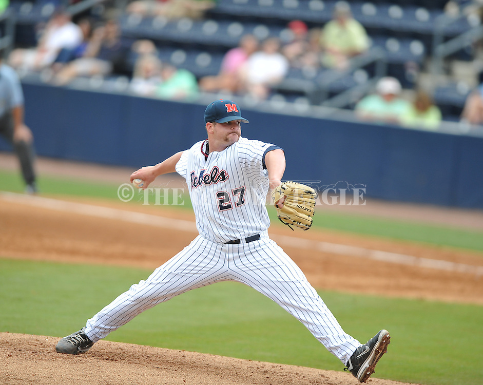 Ole Miss' R.J. Hively (27) pitches vs. Auburn at Oxford-University Stadium in Oxford, Miss. on Saturday, March 17, 2012.  (AP Photo/Oxford Eagle, Bruce Newman)
