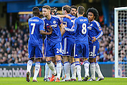 Chelsea players celebrate Diego Costa putting his team 1 nil ahead  during the The FA Cup third round match between Chelsea and Scunthorpe United at Stamford Bridge, London, England on 10 January 2016. Photo by Shane Healey.