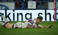 Tom Johnstone of Wakefield Trinity scores the try against Huddersfield Giants during the Betfred Super League Super 8's match at the John Smiths Stadium, Huddersfield<br /> Picture by Stephen Gaunt/Focus Images Ltd +447904 833202<br /> 31/08/2018