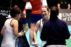 Jess Hopton of Bristol Jets smiles with doubles partner Mizuki Fuji of Bristol Jets and Bristol Jets Head Coach Rebecca Pantany - Photo mandatory by-line: Robbie Stephenson/JMP - 07/11/2016 - BADMINTON - University of Derby - Derby, England - Team Derby v Bristol Jets - AJ Bell National Badminton League
