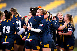 Laura Thomas of Worcester Warriors Women and Sioned Harries of Worcester Warriors Women celebrate victory over Bristol Bears Women - Mandatory by-line: Robbie Stephenson/JMP - 01/12/2019 - RUGBY - Sixways Stadium - Worcester, England - Worcester Warriors Women v Bristol Bears Women - Tyrrells Premier 15s