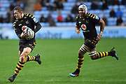 Wasps flyhalf Jimmy Gopperth (12) looks to pass supported by Wasps back row Nizaam Carr (7) during the Gallagher Premiership Rugby match between Wasps and Bath Rugby at the Ricoh Arena, Coventry, England on 2 November 2019.