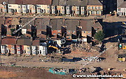 aerial photograph of demolition and urban renewal in Anfield  Liverpool Merseyside England  UK