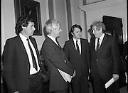 Taoiseach Meets With Unionist Representatives. (N96)..1981..08.10.1981..10.08.1981..8th October 1981..At Government Buildings, An Taoiseach, Dr Garret Fitzgerald, met with representatives of the Northern Ireland Unionist Community. They hoped to discuss on-going problems which were bedeviling the communities in the North of Ireland...Image shows An Taoiseach, Dr Garret Fitzgerald in conversation with An Tanaiste, Mr Michael O'Leary  in conversation with Mr Bryan Somers and Mr Bob McCartney QC.