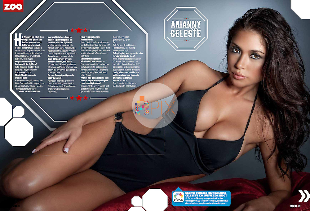 Arianny Celeste, the most popular UFC Octagon girl, is the cover/feature star for the August issue of Zoo Weekly magazine, Australia.<br /> <br /> Images from our shoot 'Arianny Celeste', available for worldwide use with approval: http://www.apixsyndication.com/gallery/Arianny-Celeste/G0000CkDZ3cJVHrc/C0000CcmrqnNMVfk