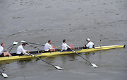 London. United Kingdom. 1998 Boat Race, Putney to Mortlake, Championship Course.  River Thames. 28.03.1998..Description: Foreshore Quintin and Horseferry BC. and General views from Chiswick Bridge. ..Chiswick Bridge...Annual Varsity Boat Race - between Oxford University BC and Cambridge University BC. [Mandatory Credit; Peter Spurrier/Intersport-images]  ..Scanned in 2012 so has 2012  file No:.Rowing Varsity 2012 011075.jpg...Left to Right. T.J.Wallace,  Alex Story,  Stefan F.Forster,  stroke - Marc.Weber, cox - Alistair J.Potts... 19980328 University, Varsity,  Boat Race. London. UK