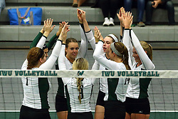 28 October 2016:  Titan Volleyball starting 7. during an NCAA womens division 3 Volleyball match between the DePauw Tigers and the Illinois Wesleyan Titans in Shirk Center, Bloomington IL