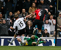 Photo: Steve Bond/Sportsbeat Images.<br /> Derby County v Blackburn Rovers. The FA Barclays Premiership. 30/12/2007. Brad Friedel (ground) saves Derby's penalty as Eddie Lewis (L) and Ryan Nelson (R) close in for a rebound