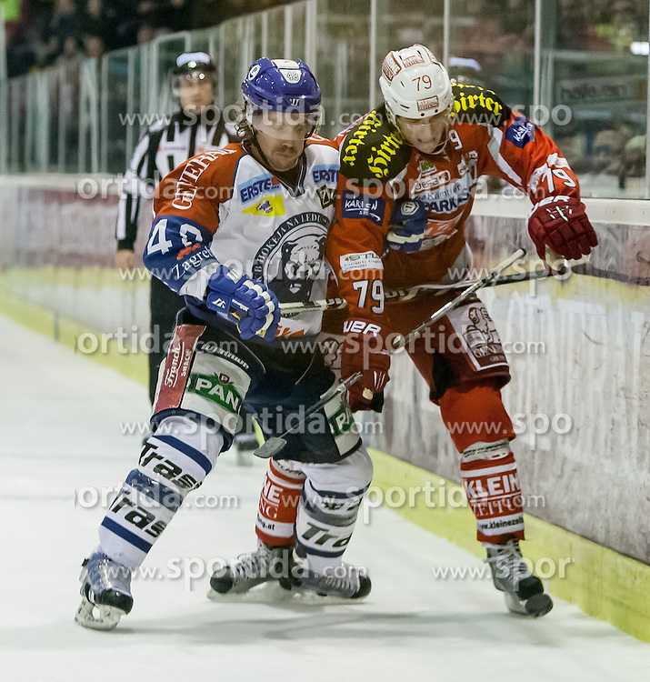 20.11.2012, Stadthalle, Klagenfurt, AUT, EBEL, EC KAC vs KHL Medvescak  Zagreb, 23. Runde, im Bild Kenny MacAulay (Khl Medvescak  Zagreb, #48), Kevin Doell (Kac, #79) // during the Erste Bank Icehockey League 23rd Round match betweeen EC KAC and KHL Medvescak Zagreb at the City Hall, Klagenfurt, Austria on 2012/11/20. EXPA Pictures © 2012, PhotoCredit: EXPA/ Mag. Gert Steinthaler