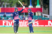 England womens cricket player Natalie Sciver  celebrates her 50 and half century during the ICC Women's World Cup match between England and Pakistan at the Fischer County Ground, Grace Road, Leicester, United Kingdom on 27 June 2017. Photo by Simon Davies.