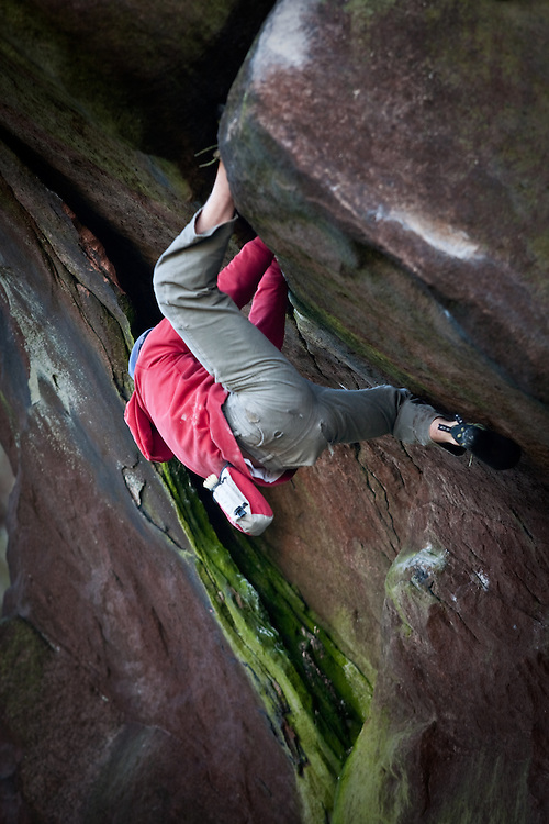 Pete Whittaker soloing 'Ray's Roof' E7 6c at the Baldstones, Staffordshire, England