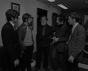 """04/07/1969.07/04/1969.4th July 1969.Sean Keating at an exhibit of a representative selection of the exhibits in the RTE Regional Arts awards from Limerick  shown in the Tintawn showroom in South KIng Street, Dublin..Sean Keating.Sean Keating (1889-1977).Portrait and figure painter, John Keating was born in Limerick on 28th September 1889...Examples: Armagh: County Museum. Ballinasloe, Co. Galway: St Joseph's College. Beijing: Irish Embassy. Belfast: Dublin Institute for Advanced Studies; Passionist Retreat, The Graan. Galway: National University of Ireland. Glasgow: Art Gallery and Museum. Kilkenny: Art Gallery Society. Clongowes Wood College. Oldham, Lancs: Art Gallery and Museum. Rome: Irish College. Sligo: Model and Niland Centre. Tralee, Co. Kerry: St John's Church. Waterford: City Hall, Municipal Art Collection. Electricity Supply Board; Federated Workers' Union of Ireland; Hugh Lane Municipal Gallery of Modern Art; Institution of Engineers of Ireland; McKeeBarracks; Mansion House; National Gallery of Ireland; National Museum of Ireland; Office of Public Works; Pharmaceutical Society of Ireland; University College (Newman House; Earlsfort Terrace). Dundrum, Co. Dublin: Carmelite Fathers, Gort Muire. Enniskillen, Co. Fermanagh: Ulster Museum. Bray, Co. Wicklow: Letterkenny, Co. Donegal: St Eunan's Cathedral. Limerick: City Gallery of Art; County Library; University, National Self-Portrait Collection. Naas, Co. Kildare:  Public Library. Brussels: Mused Modeme. Cork: Collins Barracks; Crawford Municipal Art Gallery. Dublin: Aras an Uachtar~in; Church of Ireland See House, Temple Road, Milltown; Church of St Therese, Mount Merrrion; Church of the Holy Spirit, Ballyroan; Co. Dublin Vocational Education Committee;.Literature: Royal Dublin Society Report of Council, 1""""4; The Studio, May 1915, July 1917, September 1923 (also illustration), July 1914, October 1924, November 1951; Seumas O'Brien, The Whale and the Grasshopper, Dublin 1920 (illustration); Dublin Magazine,"""