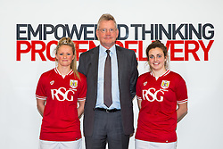 Bristol City Women's FC loan signings Millie Farrow and Jodie Brett pose with shirt sponsor Mike Beesley of RSG at his company's Bristol Office - Mandatory byline: Rogan Thomson/JMP - 11/01/2016 - FOOTBALL - Clifton Down House - Bristol, England - Bristol City Women's FC New Signings.
