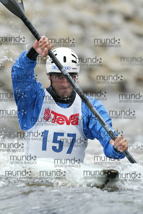 (Ottawa, Ontario---29/05/09)  John HASTINGS competing in the second run of the  K1 class at the 2009 Canadian Whitewater Slalom National Team Trials.. The CanoeKayak Canada championship race for canoes and kayaks was held at the Pump House course in Ottawa and was hosted by the Ottawa River Runners. The event ran from 29-31 May 2009. Copyright photograph Sean Burges / Mundo Sport Images, 2009. www.mundosportimages.com / www.msievents.