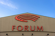 A close-up of the main logo of the Forum building in Copenhagen.