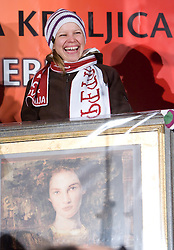Slovenian athlete Petra Majdic's friend with paintings for present when Petra arrived home with small cristal globus at the end of the nordic season 2008/2009, on March 24, 2009, in Dol pri Ljubljani, Slovenia. (Photo by Vid Ponikvar / Sportida)