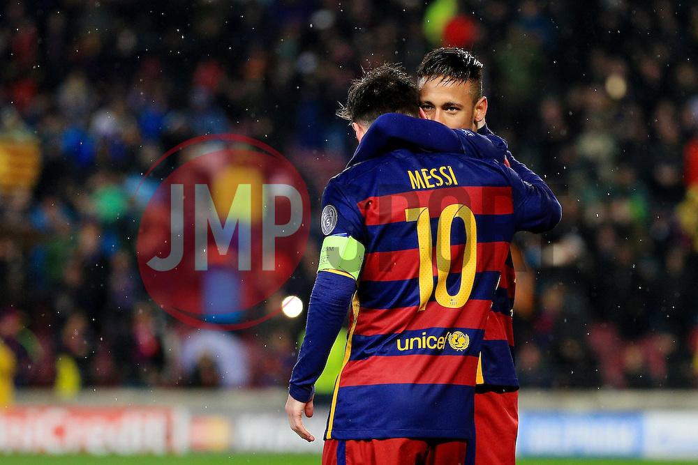 Neymar of Barcelona hugs Lionel Messi - Mandatory byline: Matt McNulty/JMP - 16/03/2016 - FOOTBALL - Nou Camp - Barcelona,  - FC Barcelona v Arsenal - Champions League - Round of 16