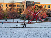 29 OCTOBER 2019 - DES MOINES, IOWA: A person walks through the fresh dusting of snow in the Poppajohn Sculpture Park in downtown Des Moines. An unseasonably early dusting of snow, less than 1 inch, blanketed the Des Moines area Tuesday morning. The snow did not accumulate on roads or sidewalks. Des Moines normally gets its first accumulation of snow in mid-November. More snow is expected later this week.              PHOTO BY JACK KURTZ
