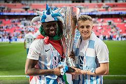 Goal scorers Gael Bigirimana of Coventry City and George Thomas of Coventry City hold the Checkatrade Trophy - Photo mandatory by-line: Jason Brown/JMP -  02/04//2017 - SPORT - Football - London - Wembley Stadium - Coventry City v Oxford United - Checkatrade Trophy Final