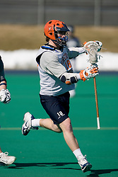 Virginia Cavaliers M Kevin Coale (18) in action against Georgetown.  The #1 ranked Virginia Cavaliers Men's Lacrosse team scrimmaged the #6 Georgetown Hoyas at the University of Virginia's Turf Field in Charlottesville, VA on February 10, 2007.