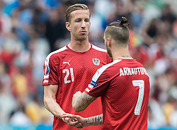 22.06.2016, Stade de France, St. Denis, FRA, UEFA Euro 2016, Island vs Oesterreich, Gruppe F, im Bild Marc Janko (AUT), Marko Arnautovic (AUT) // Marc Janko (AUT) Marko Arnautovic (AUT) during Group F match between Iceland and Austria of the UEFA EURO 2016 France at the Stade de France in St. Denis, France on 2016/06/22. EXPA Pictures © 2016, PhotoCredit: EXPA/ JFK