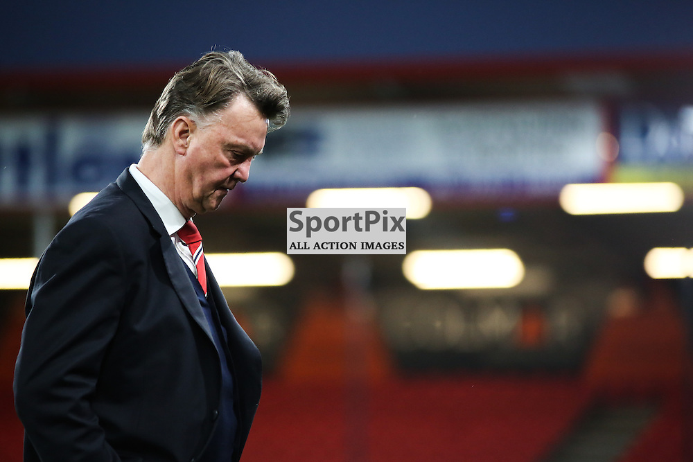 Louis Van Gaal bows his head as he leaves the pitch before Bournemouth vs Manchester United on Saturday the 12th December 2015.
