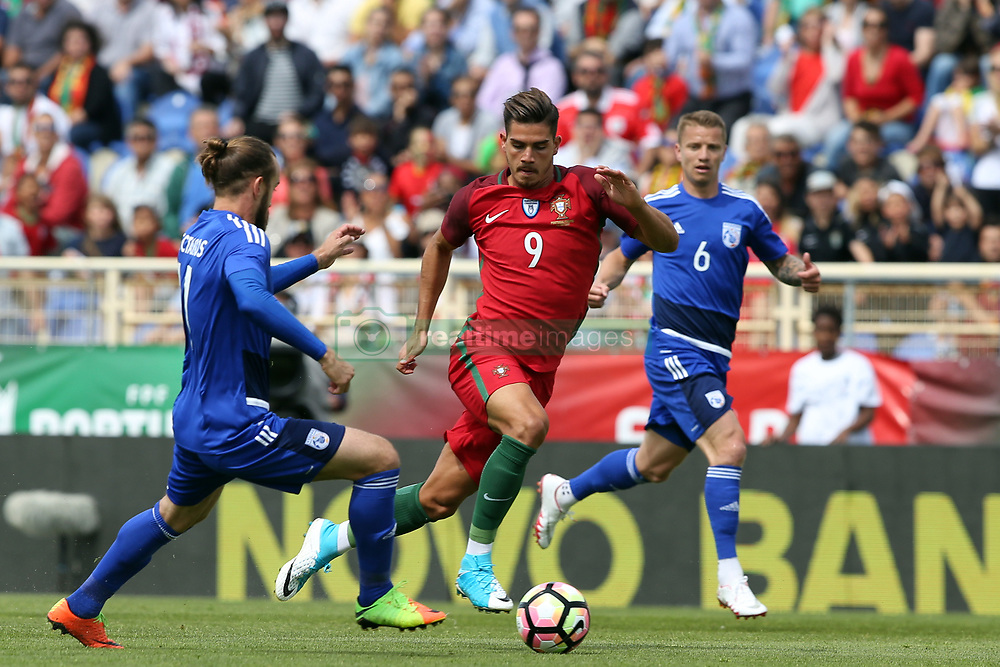 June 3, 2017 - Lisbon, Portugal - Portugal's forward Andre Silva vies with Cypruss midfielder Nektarios Alexandrou (L) during the friendly football match Portugal vs Cyprus at Antonio Coimbra da Mota Stadium in Estoril, outskirts of Lisbon, Portugal on June 3, 2017. (Credit Image: © Pedro Fiuza/NurPhoto via ZUMA Press)