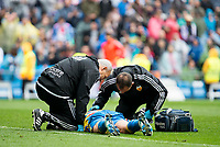 Valencia's Abdennour assist by the doctors during La Liga match. May 08,2016. (ALTERPHOTOS/BorjaB.Hojas)