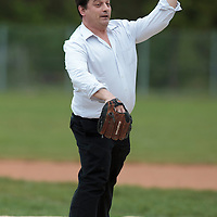 25 April 2010: Francois Garreau, Directeur Communication Externe et Developpement Durable, Generali International throws the first pitch prior to game 1/week 3 of the French Elite season won 12-4 by Rouen over the PUC, at the Pershing Stadium in Vincennes, near Paris, France.