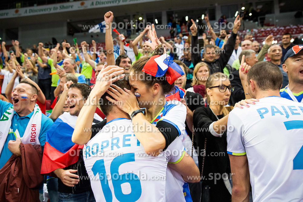Gregor Ropret #16 of Slovenia with his girlfriend celebrate after winning during volleyball match between National teams of Slovenia and Italy in 1st Semifinal of 2015 CEV Volleyball European Championship - Men, on October 17, 2015 in Arena Armeec, Sofia, Bulgaria. Photo by Vid Ponikvar / Sportida
