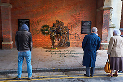 © Licensed to London News Pictures. 27/03/2018. AYLESBURY, UK.  The new David Bowie statue has been vandalised less than 48 hours after it was unveiled. Black spray paint has been used to deface the statue itself and write 'RIP DB' and 'Feed The Homeless First' despite no public money being involved.  Photo credit: Cliff Hide/LNP