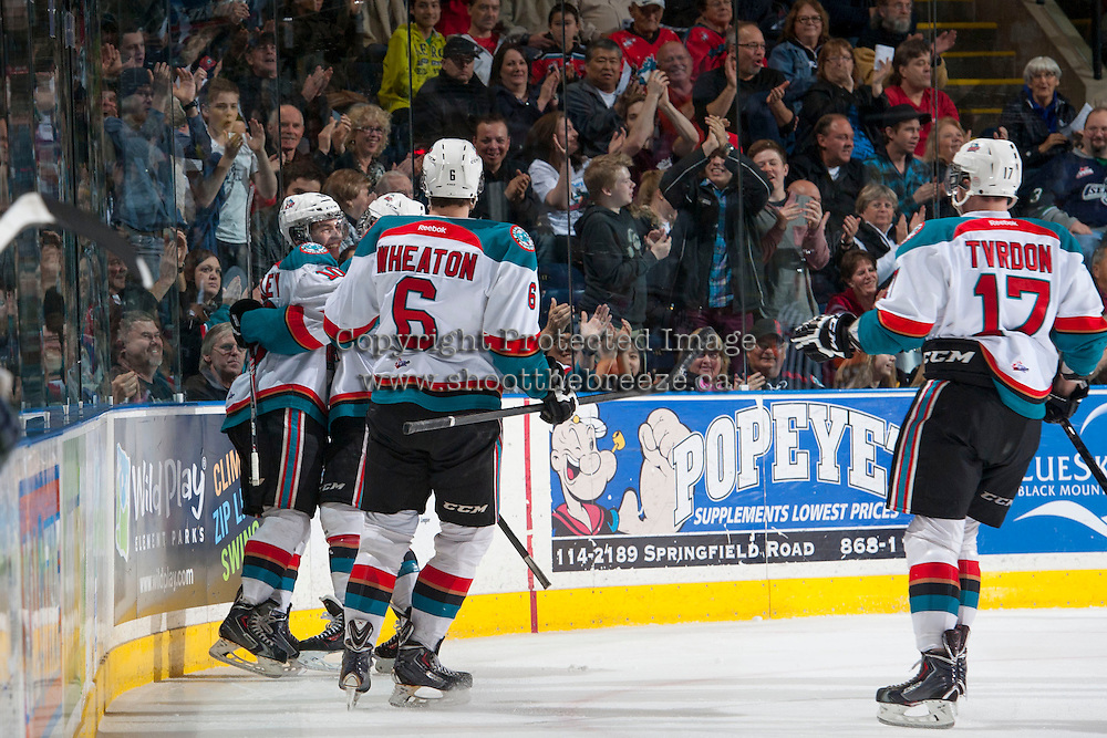 KELOWNA, CANADA - APRIL 5: The Kelowna Rockets celebrate a goal against the Seattle Thunderbirds on April 5, 2014 during Game 2 of the second round of WHL Playoffs at Prospera Place in Kelowna, British Columbia, Canada.   (Photo by Marissa Baecker/Getty Images)  *** Local Caption ***