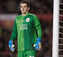 Manchester, England - Tuesday, March 13, 2007: Manchester United's goalkeeper Tom Heaton in action against a Europe XI during the UEFA Celebration Match at Old Trafford. (Pic by David Rawcliffe/Propaganda)