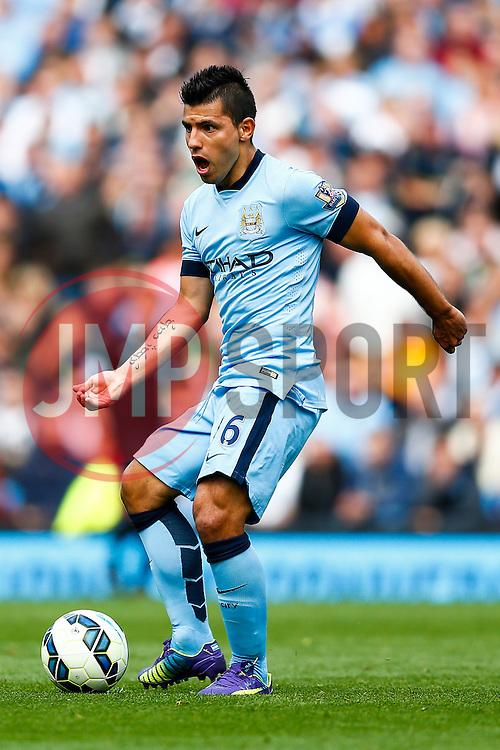 Sergio Aguero of Manchester City in action - Photo mandatory by-line: Rogan Thomson/JMP - 07966 386802 - 30/08/2014 - SPORT - FOOTBALL - Manchester, England - Etihad Stadium - Manchester City v Stoke City - Barclays Premier League.